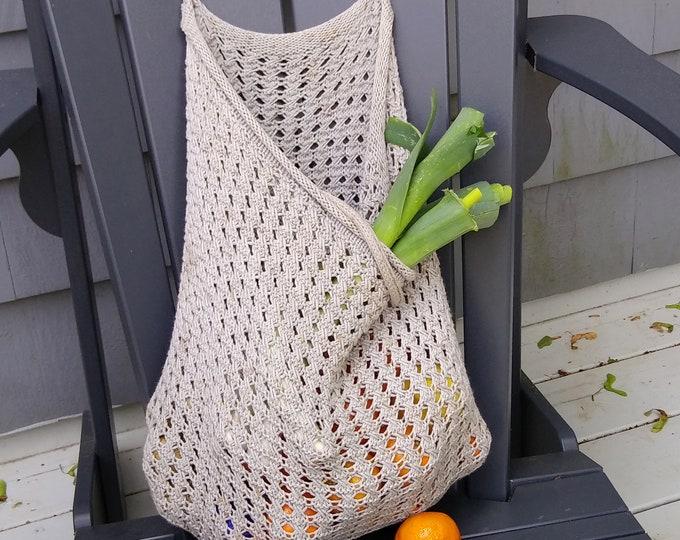 mesh market bag knit pattern, make-your-own farmer's market bag, DIY knit pattern for french market bag