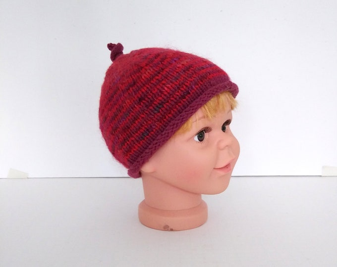 handknit red striped beanie with rolled brim for child