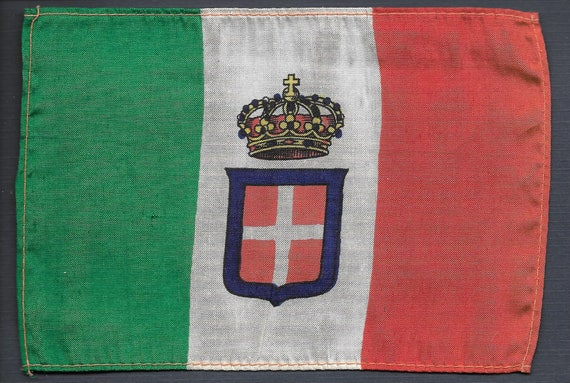 Kingdom of Italy as new National Flag and Ensign 1848 to 1946 4 x 6 silk vintage circa 1914 Pan Pacific Exposition original