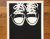 Converse Sneakers Art Print - Chuck Taylor Shoes in Black White Limited Print on Cold Press Watercolor Paper