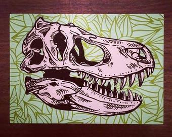 T-Rex Dinosaur Skull Wall Art Canvas, Stencil Spray Paint Jurassic bones fossil