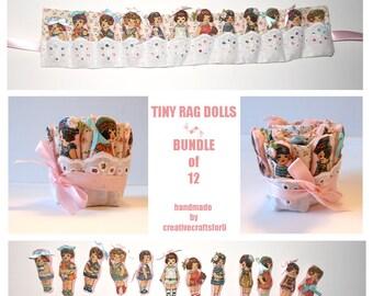 Tiny Rag Dolls, Bundle of 12 Dolls, Miniature Cloth Dolls, 2 Inches, Little Dolls, Dollhouse Doll, Hand Sewn Doll, Fabric Case
