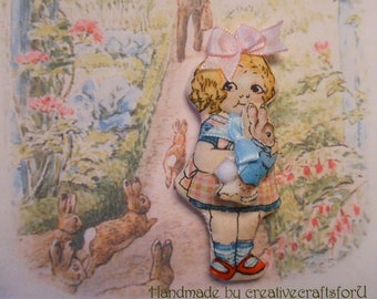 """Rag Doll with a Peter Rabbit Doll, 3"""" Tiny Rag Doll, Hand Sewn Doll, Fabric 'Paper Doll', Vintage Style, Doll & Bunny OOAK, Beatrix Potter"""