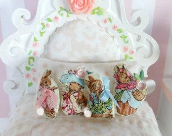 Beatrix Potter, Peter Rabbit, Dollhouse Rag Dolls, Tiny Rag Doll, 1 inch Hand Sewn Doll, Dollhouse Pillow