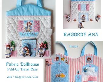 Fabric Dollhouse, Fold-Up Dollhouse , Doll Travel Case, Raggedy Ann Rag Dolls,  Pretend Play, Quite Book, Bed and Armoire, Handmade OOAK