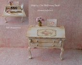 Dollhouse Writing Desk, Shabby Chic, Ladies Desk, Wood Desk With Accessories Love Letters, Staionary, Flowers,Antique Look,OOAK 1 12th Scale