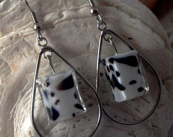 Dalmatian Glass Dangle / Hoop Earrings