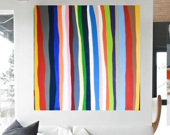 "Sale-Stripes Minimal Wall Art, Modern Home Decor, 36""x36"" Canvas Painting Abstract Minimalist Original Contemporary Artwork Commission Art"