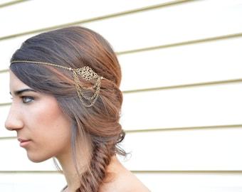 Filigree Head Piece // Wedding Headdress // Bohemian Head Accessory // Headband //  Hair Accessory // Boho Head Chain