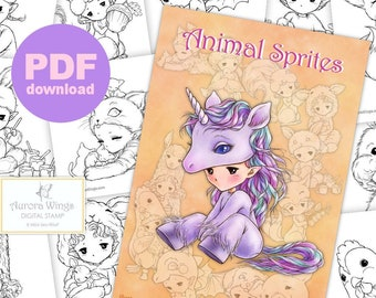 PDF Animal Sprites Coloring Book - 12 Adorable Animal Sprite Elf Images to Color for All Ages - Aurora Wings - Art by Mitzi Sato-Wiuff