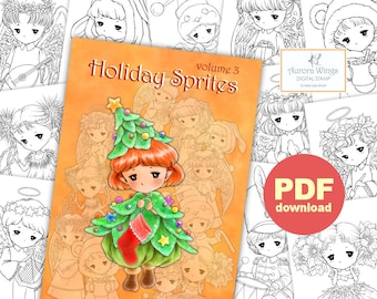 PDF Holiday Sprites Coloring Book Volume 3 - 12 Christmas Elf Fairy Images to Color for All Ages - Aurora Wings - Art by Mitzi Sato-Wiuff