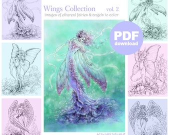 PDF Adult Coloring Page Bundle - Wings Collection vol. 2 - 6 Beautiful Fantasy Faries & Angels Line Art for Coloring by Mitzi Sato-Wiuff