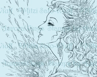 Digital Stamp- Coloring Page - Snow Queen Full Version - Inspired by H. C. Andersen Fairy Tale - Fantasy Line Art for Cards & Crafts