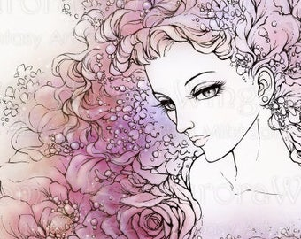 Digital Stamp Instant Download - Flora 2 - Goddess of Flowers - Line Art for Coloring and Crafts - by Mitzi Sato-Wiuff of Aurora Wings