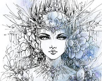 Digital Stamp Instant Download - Snow Queen - Blooms of Ice- Dark Fantasy Fairy Tale - Fantasy Line Art for Cards & Crafts