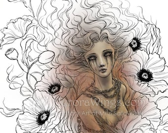 Digital Stamp - Anima Sola - Lonely Soul - Instant Download - Chained Figure in Poppies - Dark Goth Fantasy Line Art for Cards & Crafts