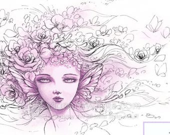 Digital Stamp - Petals in the Wind - Ethereal Fairy with Flowers in Her Hair - Fantasy Line Art for Cards & Crafts by Mitzi Sato-Wiuff