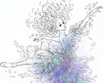 Digital Stamp - Ballet - Flower Ballerina - Graceful Dancer in Floral Costume and Pointe Shoes - Fantasy Line Art for Cards & Crafts