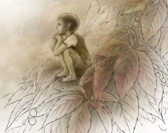 Digital Stamp - Instant Download - Forgotten Summer - Boy Fae Sitting on Leaves - Evocative Fantasy Line Art for Cards & Crafts