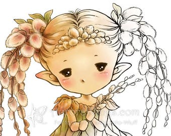 Digital Stamp - Instant Download - Pussy Willow Sprite - Nature Fairy Line Art for Cards and Coloring by Mitzi Sato-Wiuff - AuroraWings