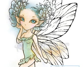 Digital Stamp - Pixie - digistamp - Kawaii Fairy with Big Hair - Fantasy Line Art for Cards & Crafts by Mitzi Sato-Wiuff