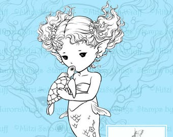 PNG Digital Stamp - Sea Turtle Kiss - Little Mermaid Holding a Baby Turtle - Fantasy Line Art for Cards & Crafts by Mitzi Sato-Wiuff