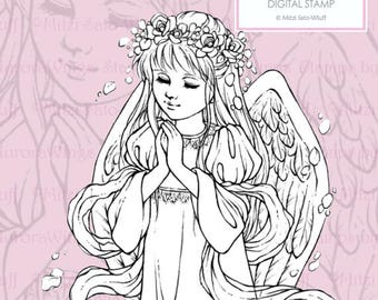 PNG Digital Stamp - Instant Download - Rose Angel - digistamp - Young Angel with Roses - Line Art for Cards & Crafts by Mitzi Sato-Wiuff