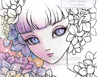 Digital Stamp - Hydrangea Sprite (Big Eye) - Doll Face Girl with Hydrangea - Fantasy Line Art for Cards & Crafts by Mitzi Sato-Wiuff