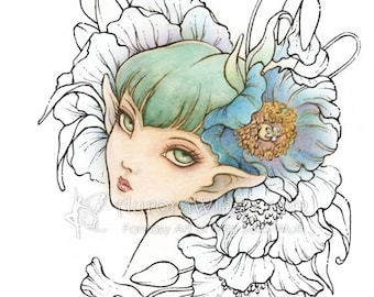 Digital Stamp - Himalayan Blue Poppy - Big Eye Poppy Elf with Blooms - Fantasy Line Art for Cards & Crafts by Mitzi Sato-Wiuff