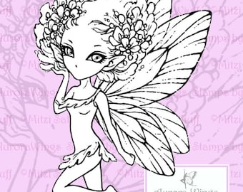 PNG Digital Stamp - Instant Download - Pixie - digistamp - Kawaii Fairy - Fantasy Line Art for Cards & Crafts by Mitzi Sato-Wiuff