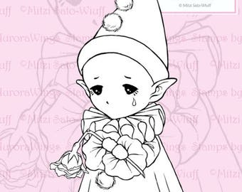 PNG Digital Stamp - Pierrot Sprite - Little French Pantomime Whimsical Fantasy Line Art for Cards & Crafts by Mitzi Sato-Wiuff