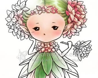 Digital Stamp - Daphne Sprite - Whimsical Flower Fae - digistamp - Fantasy Sprite Line Art for Cards & Crafts by Mitzi Sato-Wiuff