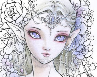 Digital Stamp - Elven Princess - digistamp - Big Eye Doll Face Elf with Flowers - Fantasy Line Art for Cards & Crafts by Mitzi Sato-Wiuff