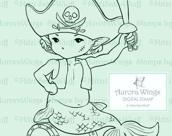 Digital Stamp - Little Pirate - Merboy in Pirate Costume with Treasure Chest - Fantasy Line Art for Cards & Crafts by Mitzi Sato-Wiuff