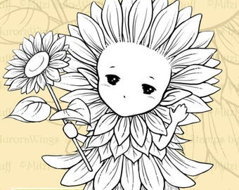 PNG Digital Stamp - Sunflower Sprite - Whimsical Sunflower Fae - digistamp - Fantasy Line Art for Cards & Crafts by Mitzi Sato-Wiuff
