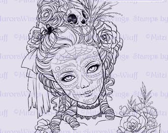 Digital Stamp - Day of the Dead Marie - Skull Paint Marie Antoinette - Fantasy Line Art for Cards & Crafts by Mitzi Sato-Wiuff