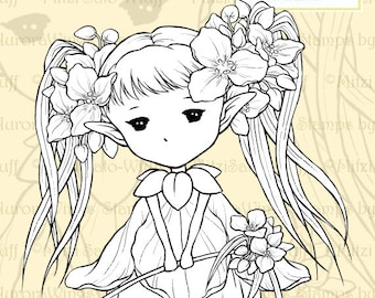 PNG Digital Stamp - Spiderwort Sprite - Tradescantia - Whimsical Flower Fairy - Fantasy Line Art for Cards & Crafts by Mitzi Sato-Wiuff