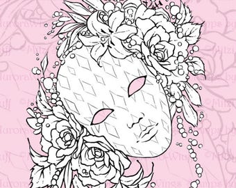 PNG Digital Stamp Instant Download - Harlequinade - Venetian Mask w/ Roses, Lilies, and Beads - Lines for Cards & Crafts by Mitzi Sato-Wiuff