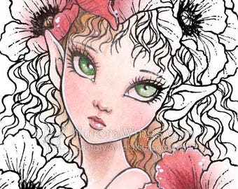 Digital Stamp - Poppy Elf - digistamp - Big Eye - Flowers - Instant Download - Fantasy Line Art for Cards & Crafts by Mitzi Sato-Wiuff