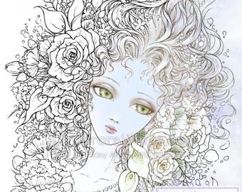 Digital Stamp - Flower Maiden - Big Eye Doll Face Girl with Flowers - digistamp - Fantasy Line Art for Cards & Crafts by Mitzi Sato-Wiuff