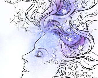 Instant Download Digital Stamp - Stars - digistamp - Woman with Stars in Her Hair - Fantasy Line Art for Cards & Crafts by Mitzi Sato-Wiuff
