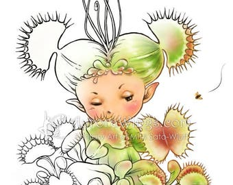 Digital Stamp - Venus Flytrap Sprite - Carnivorous Plant Whimsical Fantasy Line Art for Cards & Crafts by Mitzi Sato-Wiuff