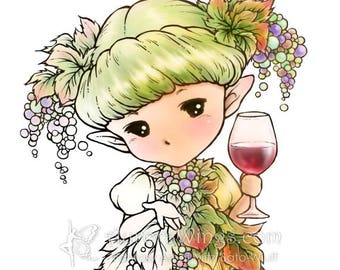 Wine Sprite - Aurora Wings Digital Stamp - Grape Fairy Holding a Glass - Fantasy Line Art for Arts and Crafts by Mitzi Sato-Wiuff