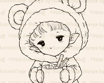 Hot Cocoa Sprite - Aurora Wings Digital Stamp - Christmas Holiday Fairy Image - Fantasy Line Art for Arts and Crafts by Mitzi Sato-Wiuff
