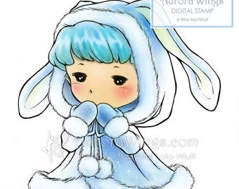 Digital Stamp - Winter Sprite - Toddler in a Bunny Coat - Fantasy Line Art for Cards & Crafts by Mitzi Sato-Wiuff at Aurora Wings