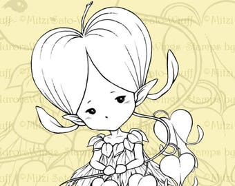 PNG Digital Stamp - Bleeding Heart Sprite - Whimsical Dicentra Fae - Fantasy Line Art for Cards & Crafts by Mitzi Sato-Wiuff