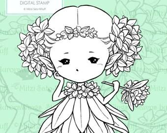 PNG Digital Stamp - Daphne Sprite - Whimsical Flower Fae - digistamp - Fantasy Sprite Line Art for Cards & Crafts by Mitzi Sato-Wiuff