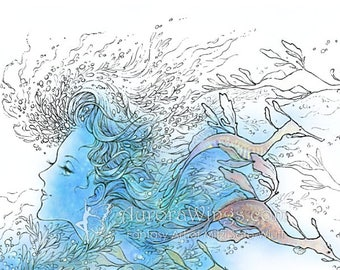 Digital Stamp - Sea Spirit and Weedy Sea Dragons - Instant Download - Fantasy Line Art for Cards & Crafts by Mitzi Sato-Wiuff