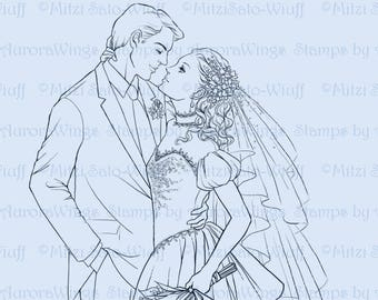 Digital Stamp - Wedding Couple - Instant Download - Bride and Groom - Romantic Bridal Line Art for Cards & Crafts by Mitzi Sato-Wiuff