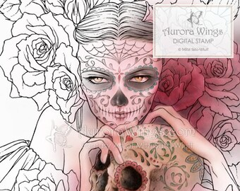 Digital Stamp - Sugar Skull Day of the Dead Catrina - Las Calaveras - Fantasy Line Art for Cards & Crafts by Mitzi Sato-Wiuff